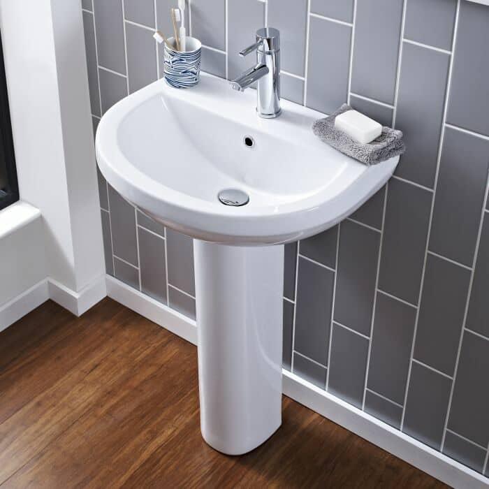 lavabo su colonna di altezza 55 cm