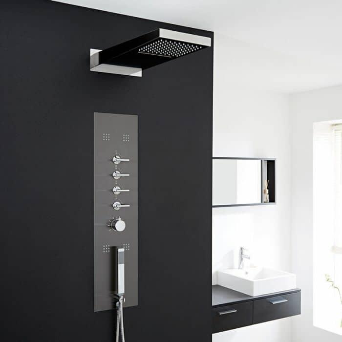 pannello doccia in acciaio inox con miscelatore termostatico