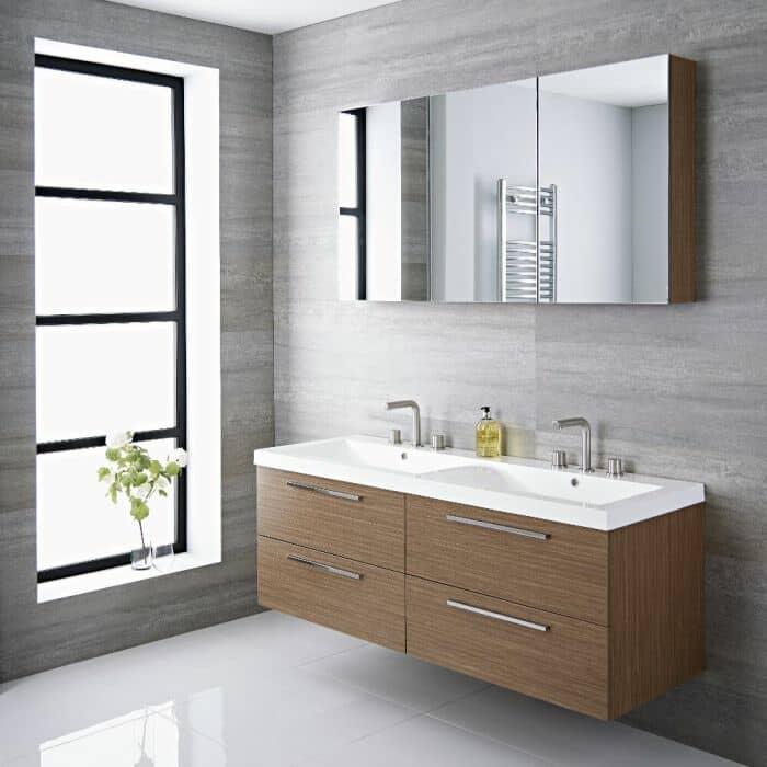 Mobile bagno sospeso doppio di colore rovere e dimensioni 1440 x 510 x 550 mm con lavabo integrato