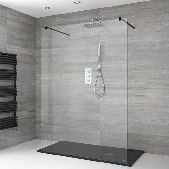 doccia walk-in flottante completo di pannello di vetro flottante, bracci di supporto e piatto doccia in antracite effetto ardesia
