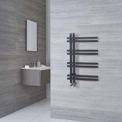 Radiatore Scaldasalviette di Design - Alluminio - Antracite - 800mm x 500mm - 351 Watt - Tika