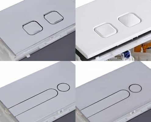 placca di comando per sanitari wc a doppio pulsante